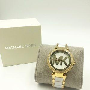 Michael Kors Parker Logo Crystal Two-Tone Watch